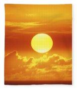 Huge Orange Sun Fleece Blanket