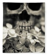Human Skull Among Flowers Fleece Blanket