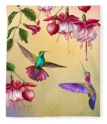 Humming Birds And Fuchsia-jp2784 Fleece Blanket