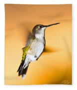 Hummingbird Agains The Sunset Fleece Blanket