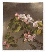 Hummingbird And Apple Blossoms Fleece Blanket