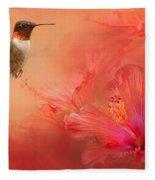Hummingbird And Peach Hibiscus Fleece Blanket