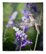 Hummingbird And Purple Lupine  Fleece Blanket