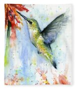 Hummingbird And Red Flower Watercolor Fleece Blanket