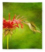 Hummingbird Bee Balm And Textures Fleece Blanket