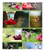Hummingbird Collage 2 Fleece Blanket