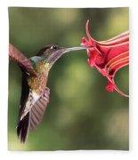 Hummingbird Enjoying Beautiful Flower Fleece Blanket