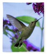 Hummingbird In Butterfly Bush Fleece Blanket