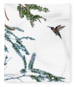 Hummingbird In Flight Isolated On White Sky Fleece Blanket