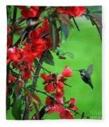 Hummingbird In The Flowering Quince - Digital Painting Fleece Blanket