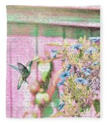 Hummingbird In The Garden Fleece Blanket