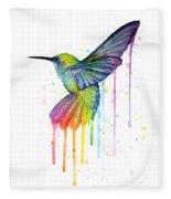 Hummingbird Of Watercolor Rainbow Fleece Blanket