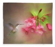 Hummingbird With Flowers Fleece Blanket