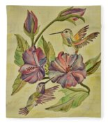Hummingbirds And Hibiscus Fleece Blanket