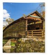 Humpback Covered Bridge In Autumn Colors Fleece Blanket