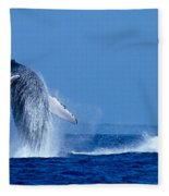 Humpback Whale Breaching Fleece Blanket
