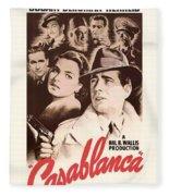 Humphrey Bogard And Ingrid Bergman In Casablanca 1942 Fleece Blanket