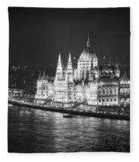 Hungarian Parliament Night Bw Fleece Blanket