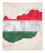 Hungary Map Art With Flag Design Fleece Blanket