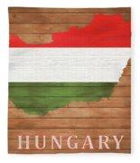 Hungary Rustic Map On Wood Fleece Blanket