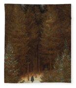 Hunter In The Forest  Fleece Blanket