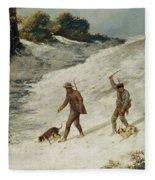 Hunters In The Snow Or The Poachers Fleece Blanket