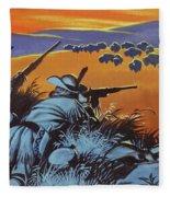 Hunting Buffalo In America Fleece Blanket