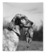 Hunting Dog With Quail, C.1920s Fleece Blanket