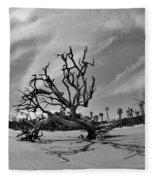 Hunting Island Beach And Driftwood Black And White Fleece Blanket