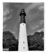 Hunting Island Lighthouse Beaufort Sc Black And White Fleece Blanket
