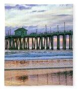 Huntington Beach Pier Panorama Colo Fleece Blanket