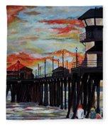 Huntington Beach Pier Sunset Fleece Blanket