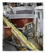 Husavik Boats Iceland 3741 Fleece Blanket