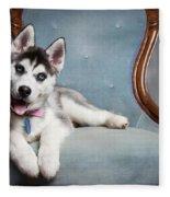 Husky Puppy II Fleece Blanket