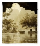 Hut In Tam Coc From A Cave River Fleece Blanket