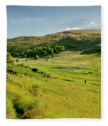 Hutton's Bog View. Holyrood Park. Fleece Blanket