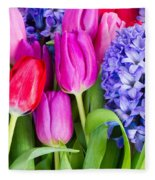 Hyacinth And  Tulip Flowers Fleece Blanket