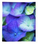 Hydrangea - Purple And Green Fleece Blanket