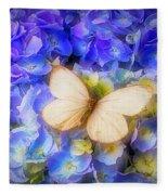 Hydrangea With White Butterfly Fleece Blanket