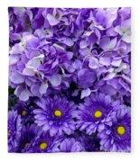 Hydrangeas And Daisies So Purple Fleece Blanket