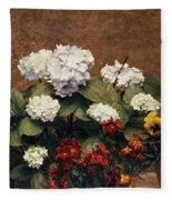 Hydrangeas And Wallflowers And Two Pots Of Pansies Fleece Blanket