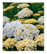 Hydrangeas Blooming Fleece Blanket