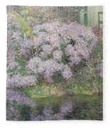 Hydrangeas On The Banks Of The River Lys Fleece Blanket