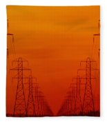 Hydro Power Lines And Towers Fleece Blanket