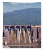 Hydroelectric Power Plants On River Industry Fleece Blanket