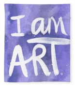I Am Art Painted Blue And White- By Linda Woods Fleece Blanket