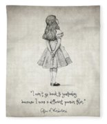 I Can't Go Back To Yesterday Quote Fleece Blanket
