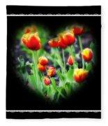 I Heart Tulips - Black Background Fleece Blanket