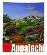 I Love Appalachia T Shirt - Spring Groundhog - Country Farm Landscape Fleece Blanket