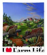 I Love Farm Life - Groundhog - Spring In Appalachia - Rural Farm Landscape Fleece Blanket